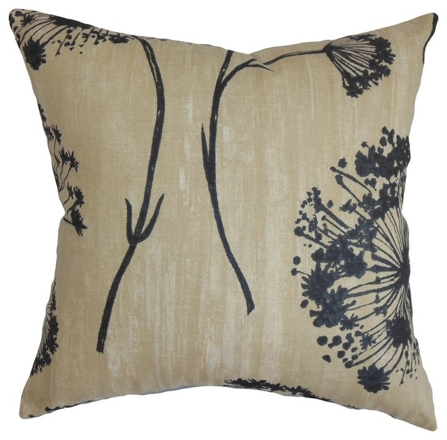 Black And Beige Decorative Pillows : Shop Houzz The Pillow Collection Inc. Garuahi Floral Pillow Black Beige - Decorative Pillows
