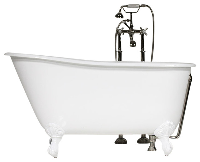 "The Lapley 54"" Cast Iron Swedish Slipper Tub With Drain."