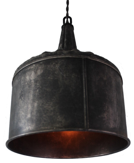 Funnel Pendant Light, Black Steel.