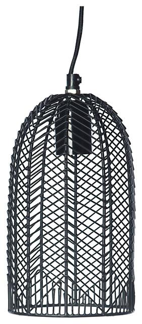 Black Iron Cage Pendant Light, Oval