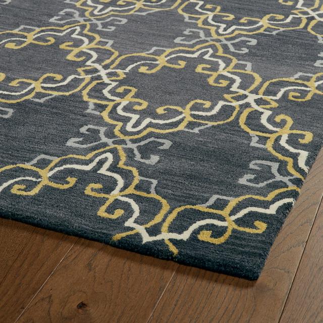 Kaleen Helena Turquoise Rug: Kaleen Hand Tufted Melange Graphite Wool Rug