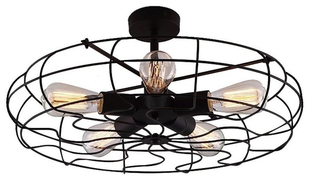 Industrial Vintage Style Semi Flush Mount Ceiling Light Metal Hanging.