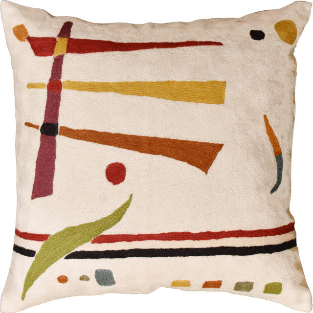 Kandinsky Off White Elements Accent Pillow Cover Handembroidered Wool 18x18.