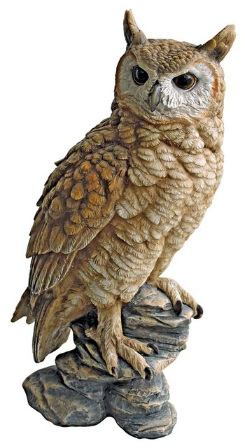 Perching Forest Owl Statue Contemporary Decorative Objects And Figurines