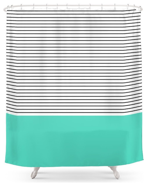 Society6 Minimal Teal Blue Stripes Shower Curtain