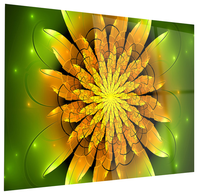 Bright Yellow Fractal Flower on Green\