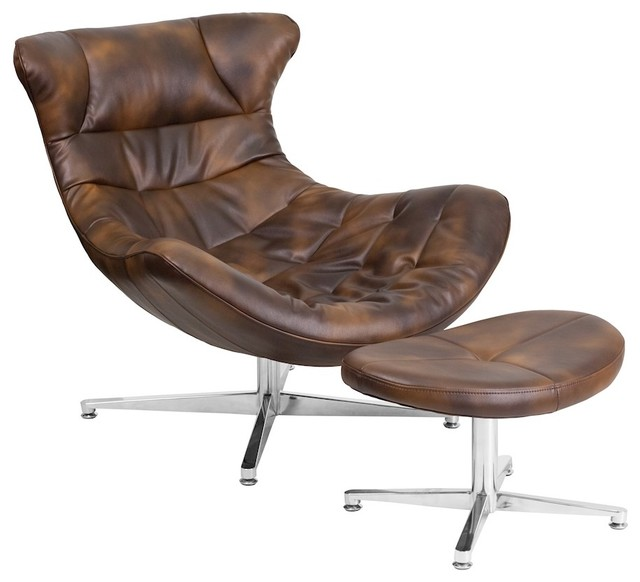 Flash Furniture Bomber Jacket Leather Cocoon Chair With Ottoman.