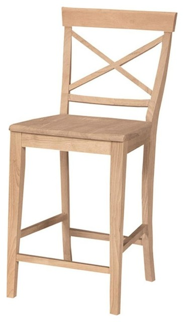 Unfinished X Back Counter Stool W Solid Wood Seat Bar