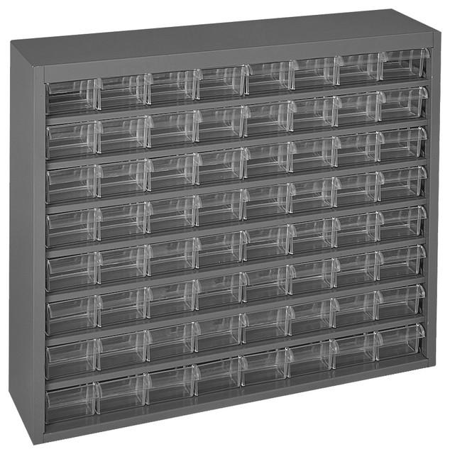 Durham Gray Steel Cabinet, 64 Plastic Drawer Industrial Storage Cabinets