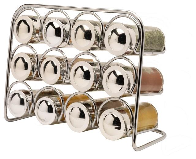 Pisa Chrome Spice Rack With 12 Jars