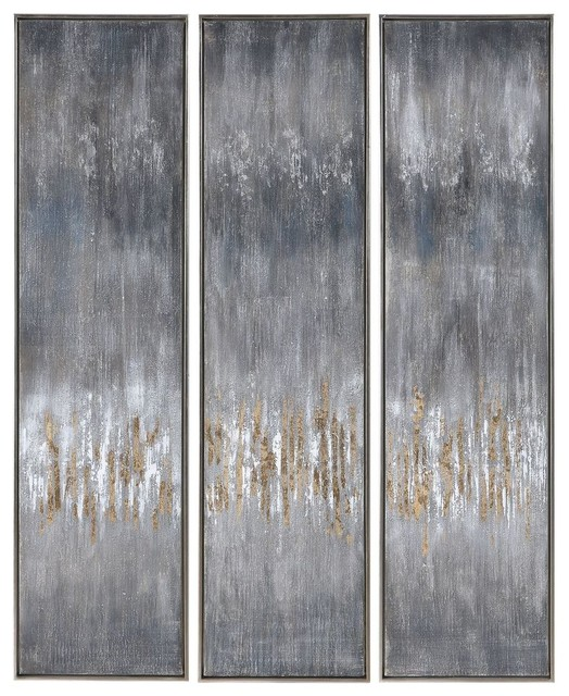 Uttermost 51304 Uttermost Gray Showers Hand Painted Canvases, Set/3