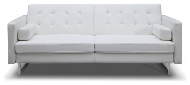 Giovanni Sofa Bed White Faux Leather Stainless Steel Legs.  Armchairs And Accent