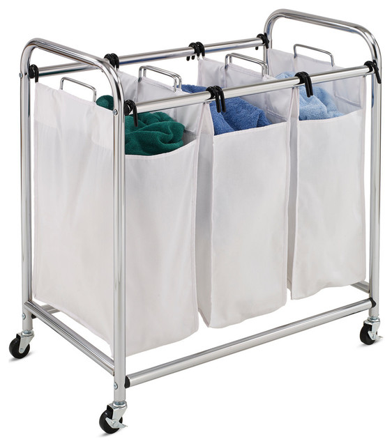 Chrome Heavy-Duty Triple Laundry Sorter.