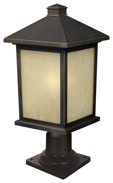 1 Light Outdoor Post Mount Light, Oil Rubbed Bronze And Tinted Seedy.