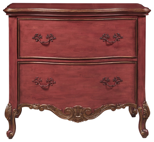 Sharone Red Ornate Accent Drawer Chest