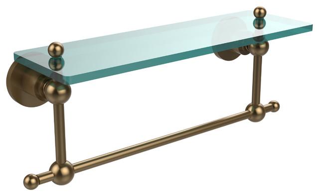 16x5 Glass Shelf With Towel Bar, Brushed Bronze