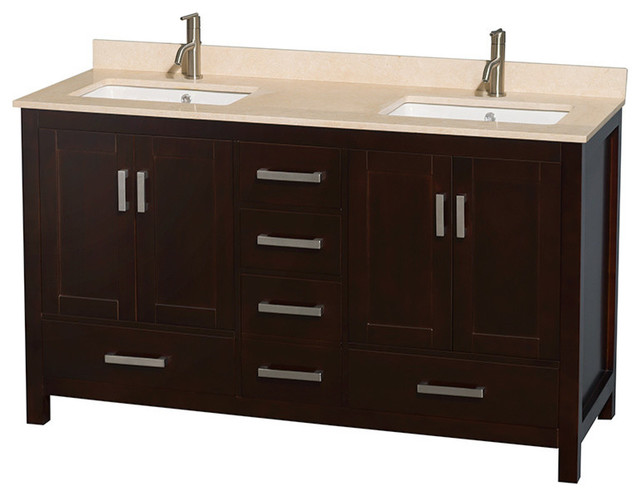 60 Double Bathroom Vanity Ivory Marble Countertop Undermount Sink Transitional Bathroom