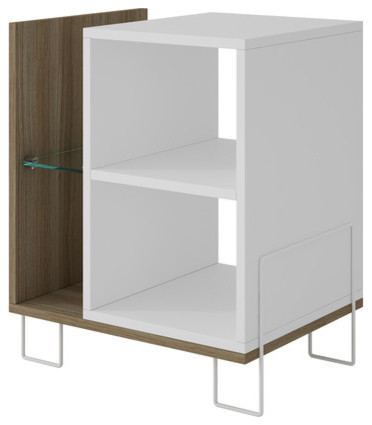 Manhattan Comfort Boden Bookcase 2.0 With 4 Shelves, Oak And White.