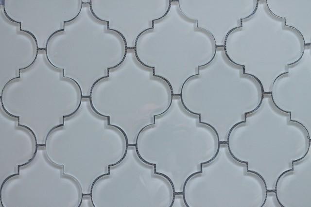 Snow White Arabesque Gl Mosaic Tile Sample