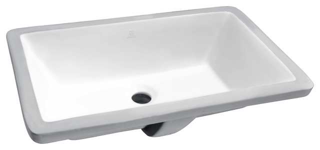 "Rhodes Series 7"" Ceramic Undermount Sink Basin, White."