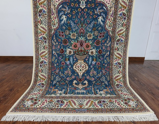 Hand Knotted Wool and Silk Persian
