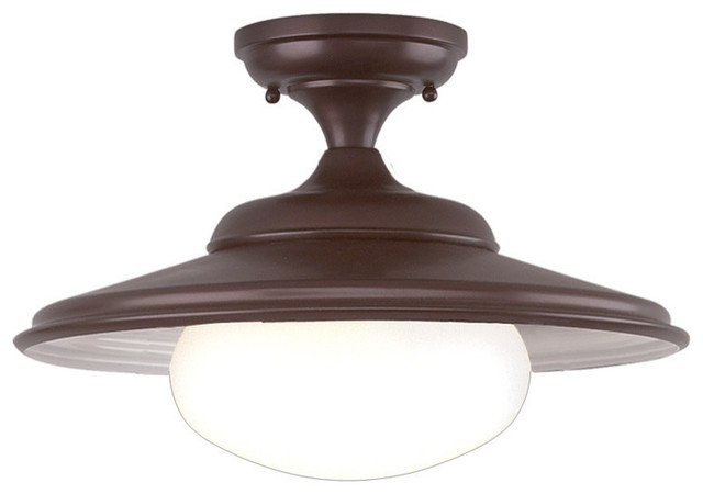 Independence, One Light 16-inch Semi Flush, Old Bronze Finish, Glass Shade