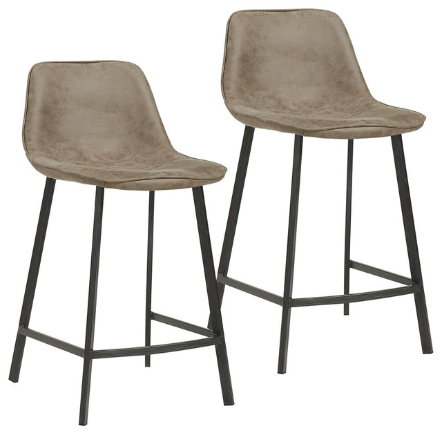 Marvelous Buren Counter Stools Set Of 2 Vintage Brown 26 Gmtry Best Dining Table And Chair Ideas Images Gmtryco