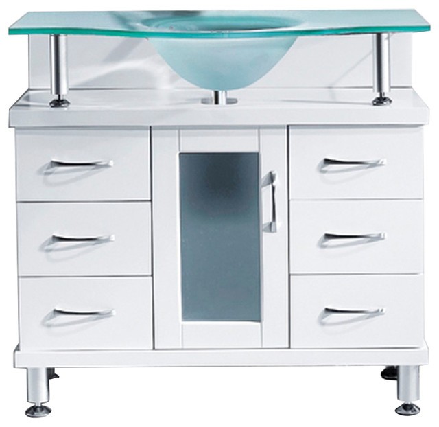 "Stockholm Vanity, White With Frosted Glass Top, 36""."