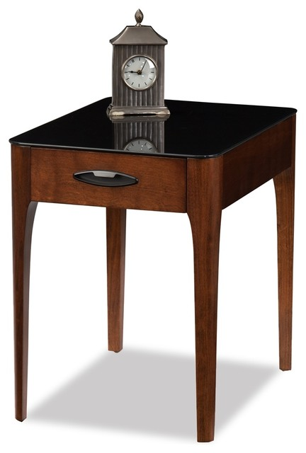 Leick Furniture Obsidian Chestnut Drawer End Table Transitional Side Tables And End Tables