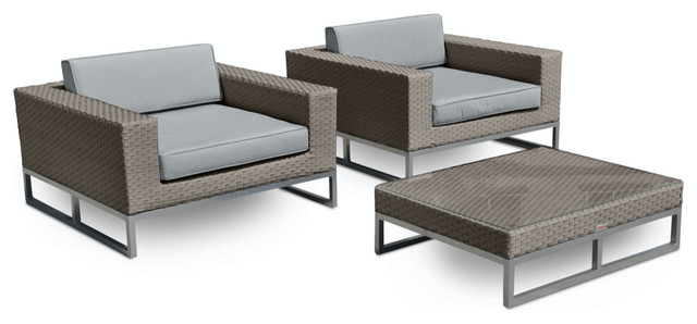 3-Piece Outdoor Patio Furniture Weather Wicker Arm Chair Set.