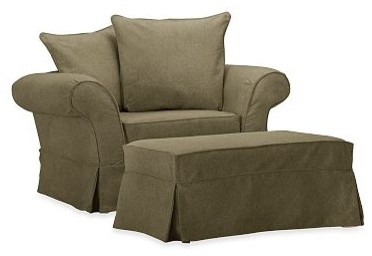 Charleston Chair-and-a-Half Slipcover, Velvet Sage