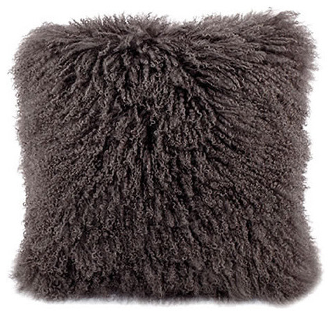 "Mongolian Lamb Fur Pillow Gray 20x20""."