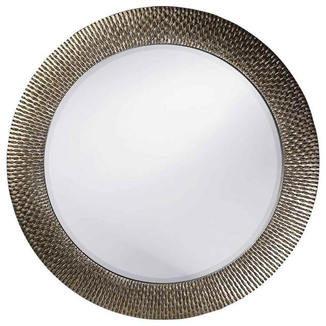 Howard Elliott Bergman Silver Round Mirror.