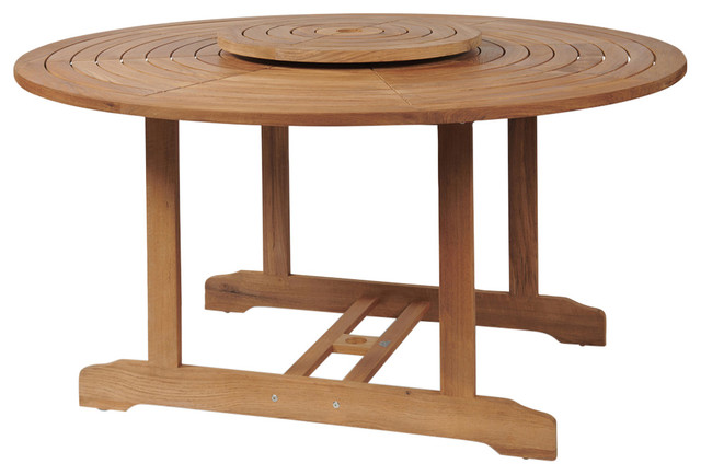 Royal Round Table With Lazy Susan, Round Outdoor Dining Table With Lazy Susan