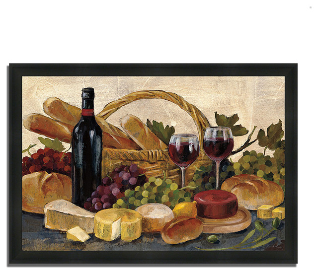 Tuscan Evening Wine By Silvia Vassileva Framed Painting Print Ready To Hang Farmhouse Prints And Posters By Tangletown Fine Art
