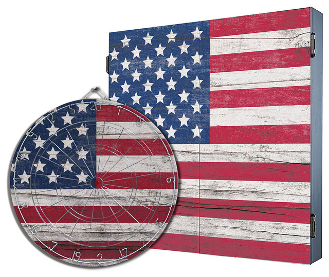 American Flag Dartboard Cabinet Combo Contemporary