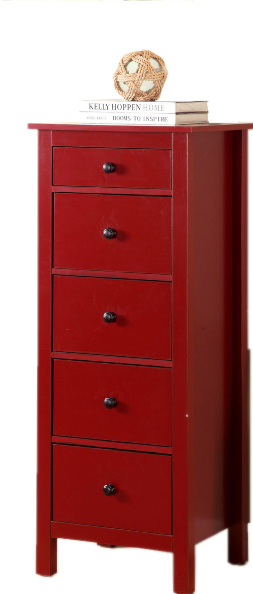 Accent Small Compact 5-Drawer Wood Chest Cabinet, Red