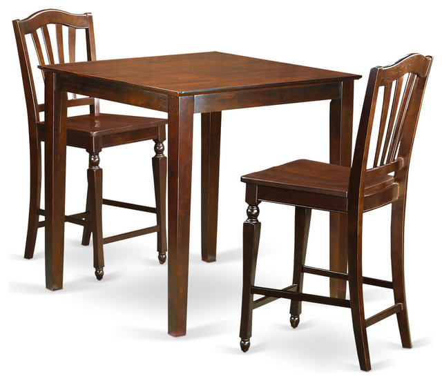 Vienna counter height dining table set mahogany 3 pieces for Traditional kitchen table sets