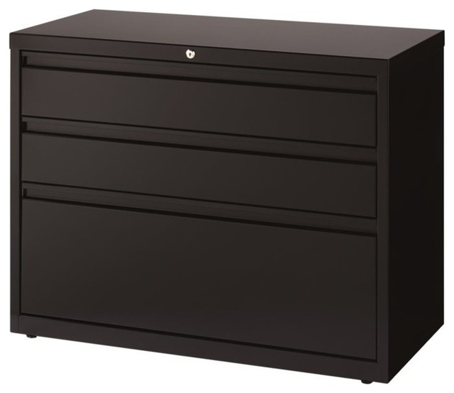 Hirsh 3-Drawer Lateral File Cabinet in Black - Contemporary - Filing Cabinets - by Homesquare