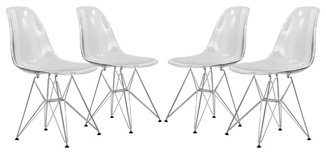 Leisuremod Cresco Molded Eiffel Side Chairs Clear Set Of 4 Modern Dining