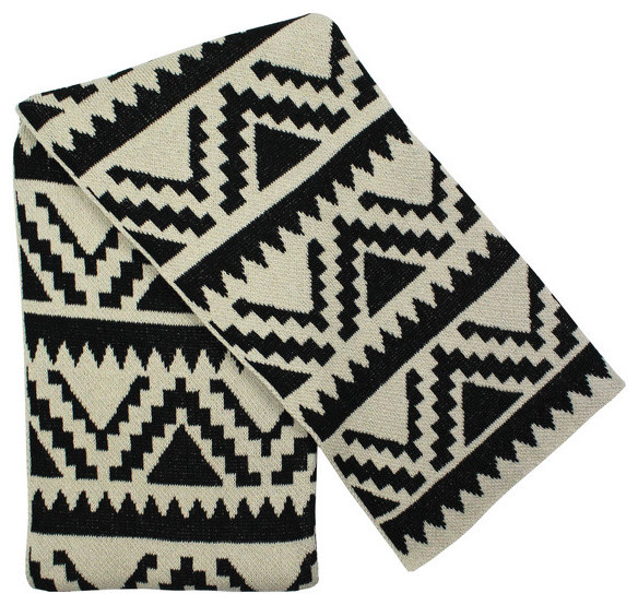 Black Linen Aztec Throw Southwestern Throws By