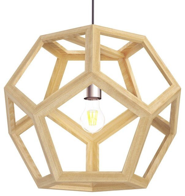 Hollow Design Wood Ceiling, Geometry Shape Foyer Pendant Light.