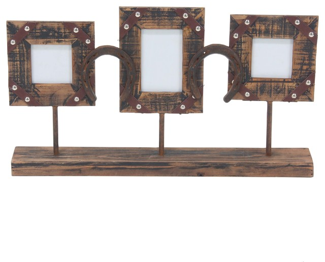 Rustic 3 Opening Wood And Iron Photo Frame With Stand Southwestern Picture Frames By Brimfield May
