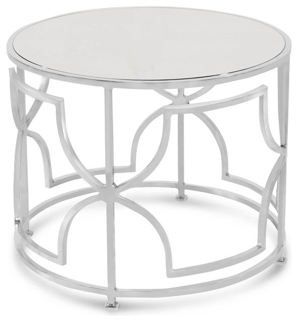 Dedee Hollywood Regency Nickel Antique Mirror Side Table Transitional Side  Tables And