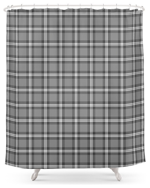 Plaid Shower Curtain Gray Farmhouse Shower Curtains By