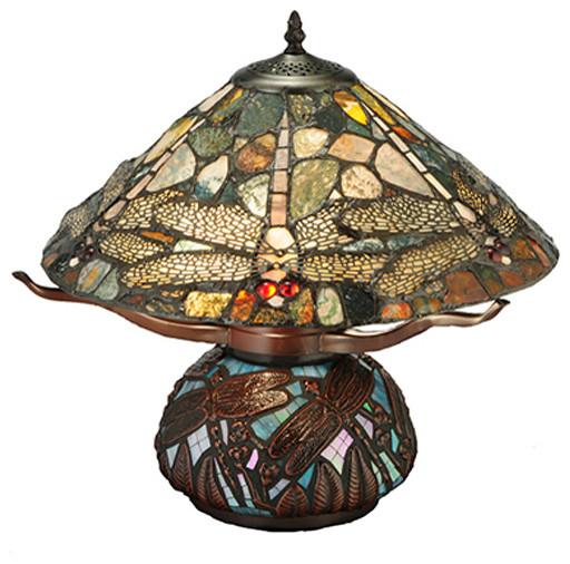 "Meyda 16.5"" Dragonfly Cut Agata Table Lamp."