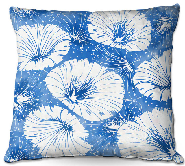 Blue White Flowers Outdoor Pillow Contemporary Outdoor Cushions