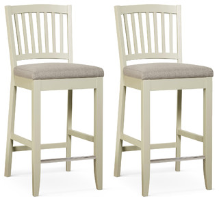 sandford slatted bar stools off white and gray set of 2 transitional bar stools and. Black Bedroom Furniture Sets. Home Design Ideas