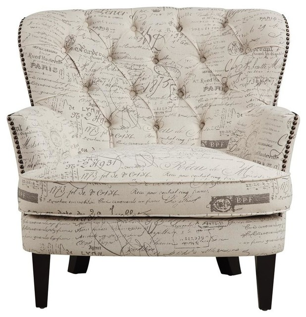 Right 2 Home Paris Script Upholstered Arm Chair