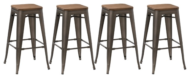 Steven Metal and Wood Bar Stools, Set of 4, 30""